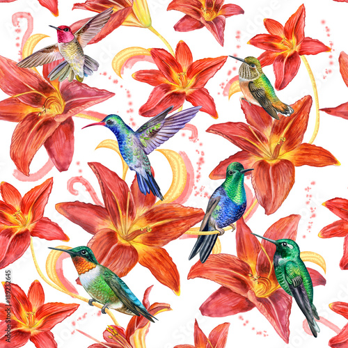 Birds Of Hummingbirds Red Lily Flowers Seamless Wallpaper