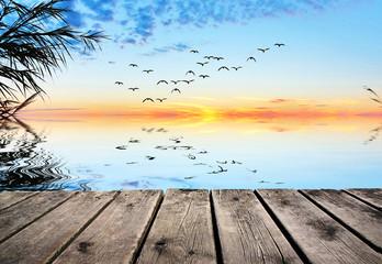 paisaje relajande del lago en calma