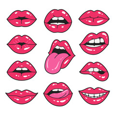 Lips patches collection. Vector illustration of sexy doodle woman's lips expressing different emotions, such as smile, kiss, half-open mouth, biting lip, lip licking, tongue out. Isolated on white.