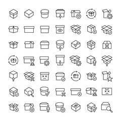 Set of premium box icons in line style