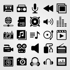 Multimedia icon set vector. music player, radio, turntable and photo camera