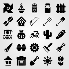 Garden icon set vector. tractor, bird house, well and lamp