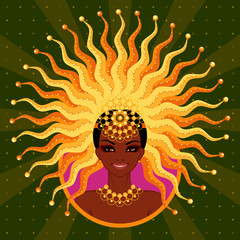 vector illustration of the beautiful Afro-American girl for a carnival in Brazil