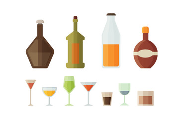 Set design alcohol bottles and glasses vector illustration