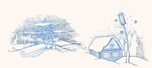 Hand drawn sketch. Winter fairy house outside. Pine forest and snow. Vector illustration. Template for Merry Christmas card. Christmas and New Year design elements.