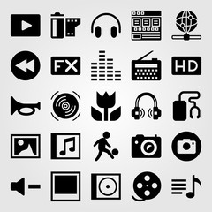 Multimedia icon set vector. picture, hd, man and playlist