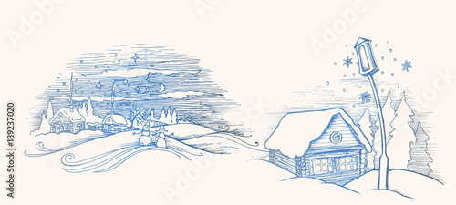Hand Drawn Sketch Winter Fairy House Outside Pine Forest And Snow Vector Illustration
