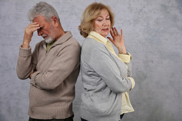 Mature Couple In Quarrel. Senior Woman accuses her husband. Family disagreement concept