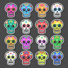 Cute vector set with skulls. Mexican calavera collection. Day of the dead.