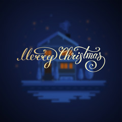 Merry Christmas Text .Happy New Year vector illustration lettering design EPS 10. Christmas card