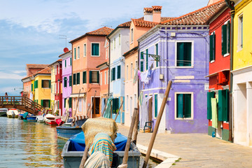 Colorful houses and canals on the island of Burano near Venice