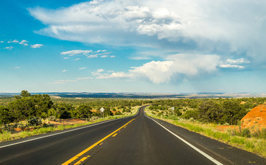 Foto op Plexiglas Route 66 Historic Route 66. Road to New Mexico from Arizona