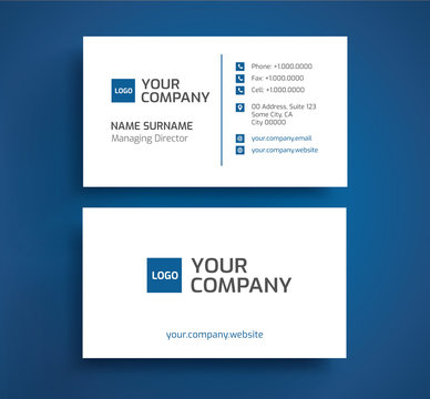 Stylish business card - blue and white color minimalist design - template vector