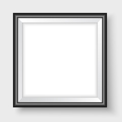 Picture frame on the wall black bold square realistic vector