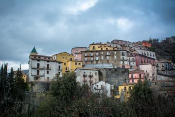 Horizontal View of The City of Viggianello. Basilicata, South Of Italy