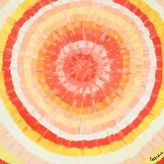 """Abstraktes Gemälde """"Zitrus"""" von Carola Vahldiek, Gouache-Farben auf Leinwand"""