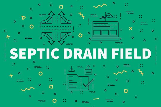 Conceptual business illustration with the words septic drain field