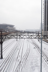 Chicago city train tracks covered in snow