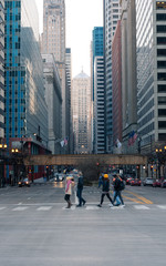 Chicago downtown city street view in winter