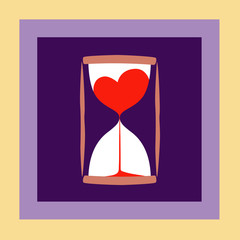 Modern background with hourglass and heart inside. Design for card or poster. Vector illustration