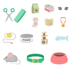 An animal cat cartoon icons in set collection for design. Caring for a cat vector symbol stock web illustration.