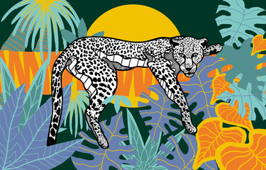 Leopard in rainforest with tropical leaves