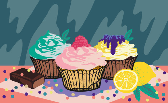 Three colorful and sweet cupcakes with confetti and lemon