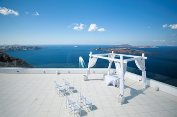 a place for weddings on the island of Santorini, the beautiful island of Santorini