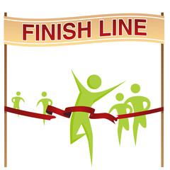 Man Running Across Finish Line