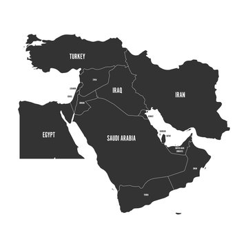 Political map of Middle East, or Near East, in grey. Simple flat vector ilustration.