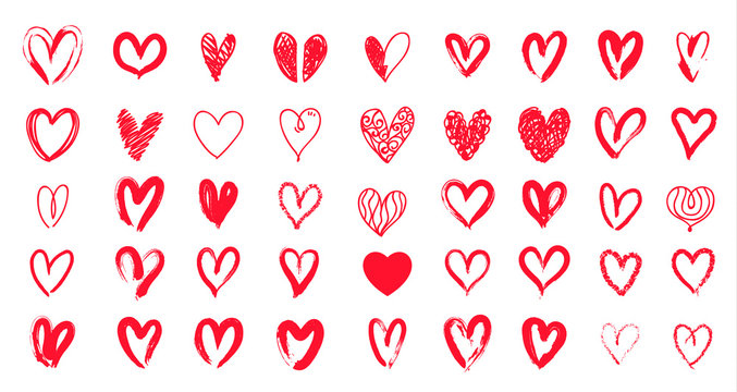 Red heart hand drawn. Icon cute doodle love.