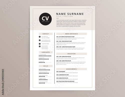 Cv Resume Template Elegant Stylish Vector Design Fichier