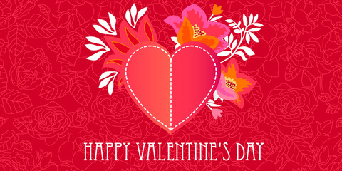 Happy Valentine's Day card. Red heart on the floral background with blooming roses.