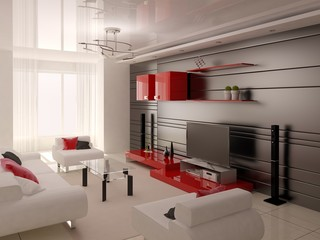 Hi-tech living room with practical furniture and stylish background.