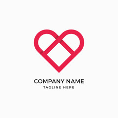 Heart Square Logo Design Template