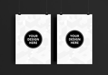 Two Hanging Posters Mockup 1