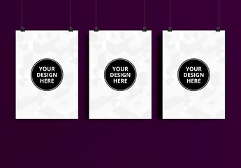 Three Hanging Posters Mockup 1