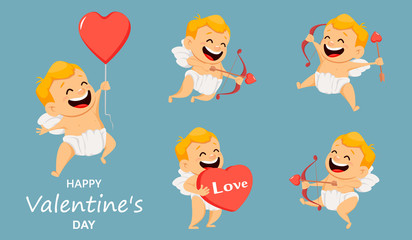Valentines Day greeting card with cute cupid. Set