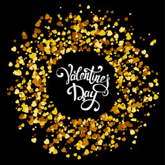 Handmade lettering with circle made of golden hearts
