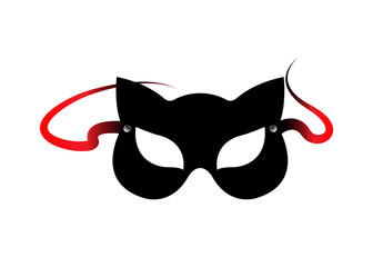 Carnival fetish cat masks, accessories from bdsm toys, vector isolated