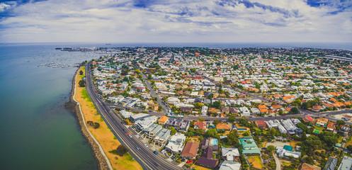 Aerial panorama of Williamstown coastal suburb in Melbourne, Australia