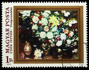 Flowers, by Istvan Csok on postage stamp