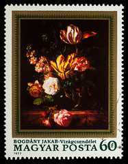 Flowers, by Jakab Bogdany on postage stamp