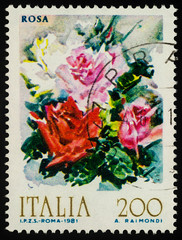 Bouquet of roses on postage stamp