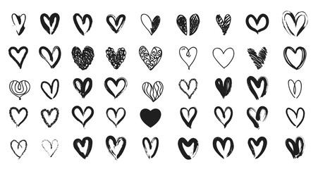 Black heart hand drawn. Icon cute doodle love.