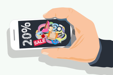 discount web page with doodles design on phone screen