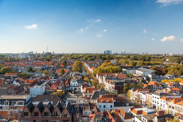 Traditional netherlands architecture with canals from above
