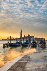 Wschód słońca przy kanał grande w Wenecja, Włochy