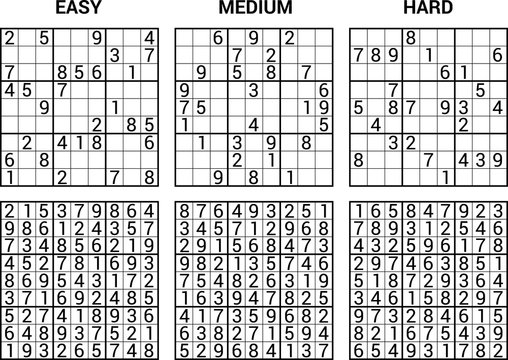 sudoku puzzle game with answers