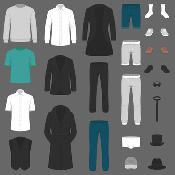 Set of man fashion. Clothes isolated on white. Vector clothing design. pants, suit, shirt and jacket